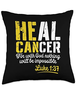 Christian Cancer Awareness Apparel My God is Stronger Than Childhood Cancer Survivor Throw Pillow, 18x18, Multicolor