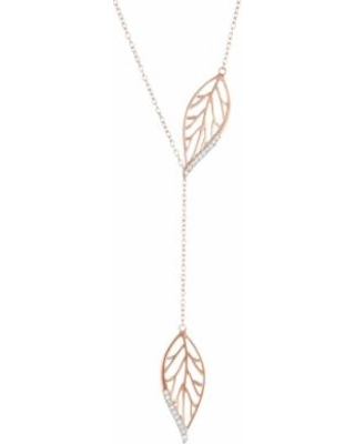 """14k Rose Gold Over Silver 1/10 Carat T.W. Diamond Leaf Y Necklace, Women's, Size: 18"""", White"""