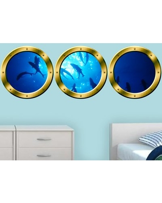 """3 Piece Underwater Submarine Fish Portholes Wall Decal Set East Urban Home Color: Gold, Size: 20"""" H x 20"""" W x 0.01"""" D"""