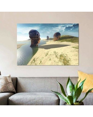 """East Urban Home 'Mesh Head' By Vin Zzep Graphic Art Print on Wrapped Canvas ETRC7329 Size: 26"""" H x 40"""" W x 1.5"""" D"""