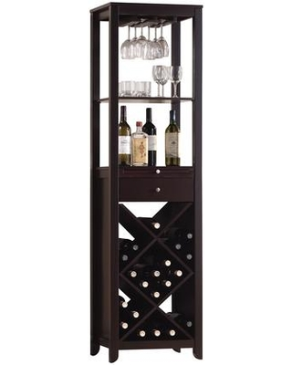 "Casey Collection 12244 19"" Wine Cabinet with 1 Drawer Metal Hardware Pull-Out Tray Criss-Crossed Shelves and Stemware Holder in Wenge"
