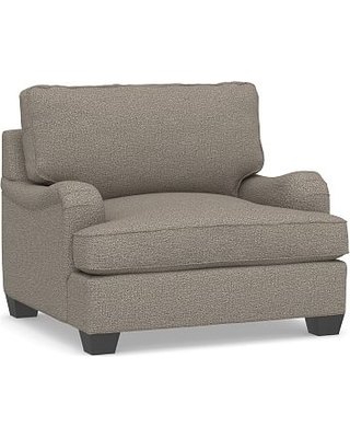 """PB English Arm Upholstered Grand Armchair 42"""", Polyester Wrapped Cushions, Performance Chateau Basketweave Light Gray"""