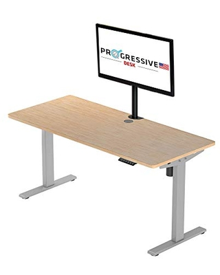 Progressive Desk Standing Desk Bamboo, Small 42x30, Adjustable Height Stand Up Desk with Wheels and Drawer - Bamboo Light/Grey Frame