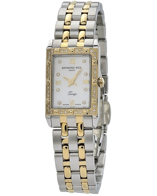 Raymond Weil Women's 5971-SPS-00995 'Tango Square' Mother of Pearl Diamond Dial Two Tone Stainless Steel Quartz Watch (Raymond Weil Women's Tango