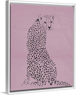 "Cheetah II Kids Wall Decor Novogratz Format: White Floating Frame Canvas, Size: 14"" H x 11"" W x 1.2"" D"