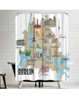East Urban Home M Bleichner Berlin Favorite Map With Touristic Highlights Shower Curtain ERNI0943