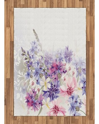 """Floral Flatweave Pink/Gray Area Rug East Urban Home Rug Size: Rectangle 4' x 5'8"""""""