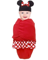 Disney Minnie Mouse Swaddle Baby Blanket with Minnie Ears and Bow Beanie