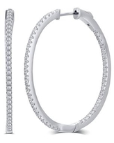 Divina Silver Overlay and Gold Plated Cubic Zirconia 15mm Inside Outside Hoop Earrings