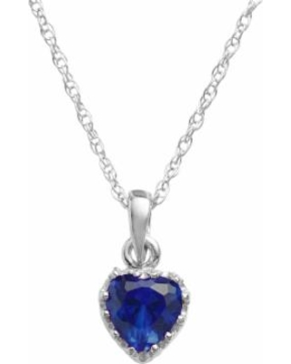 """""""Tiara Sterling Silver Lab-Created Sapphire Heart Crown Pendant, Women's, Size: 18"""", Blue"""""""