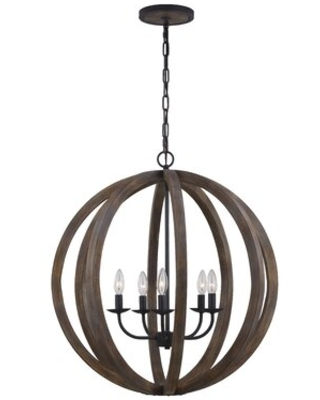 Marley 5 - Light Candle Style Globe Chandelier with Wood Accents