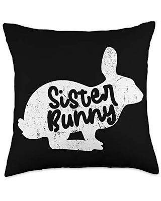 Easter Bunny Merch Co Sunday Sister Bunny Easter Egg Hunt Lover Throw Pillow, 18x18, Multicolor