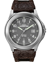 Men's Timex Expedition Watch with Nylon and Leather Strap - Silver/Brown T40091JT