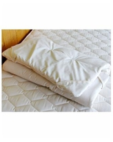 Holy Lamb Organics Natural Crib Quilted Wool Mattress Topper Encased in Organic Cotton Sateen - Natural