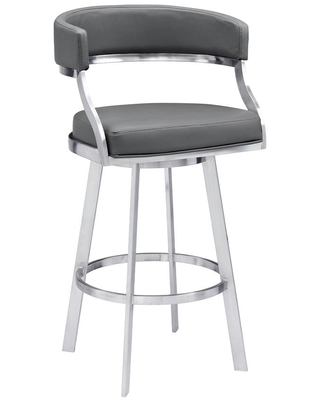 Armen Living Saturn Contemporary 26 in. Counter Height Bar Stool in Brushed Stainless Steel and Grey Faux Leather, Gray/Brushed Stainless Steel