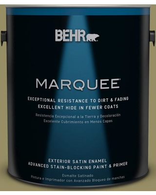 BEHR MARQUEE 1 gal. #390F-6 Tate Olive Satin Enamel Exterior Paint and Primer in One