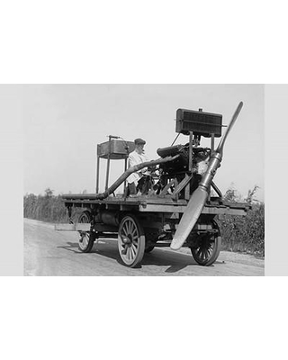 "Buyenlarge 'Wheeled Vehicle with Mounted Propeller' Photographic Print 0-587-46248-L Size: 24"" H x 36"" W x 1.5"" D"