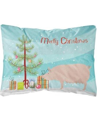 The Holiday Aisle Fernwood English Large Pig Christmas Indoor/Outdoor Throw Pillow BF148651