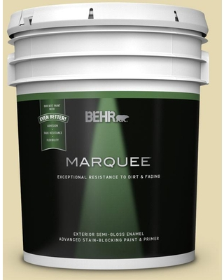 BEHR MARQUEE 5 gal. #MQ3-42 Honey Mist Semi-Gloss Enamel Exterior Paint and Primer in One