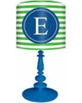 """Blue And Green """"E"""" Striped Monogram Kids Table Lamp"""