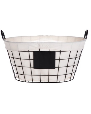 Better Homes & Gardens Oval Wire Basket with Chalkboard and Liner, Black