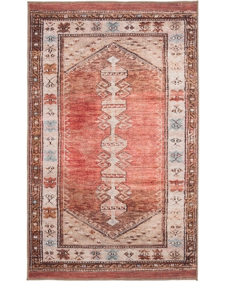 Terracotta and Beige Persian Style Izmir Area Rug - Polyester - 2' x 3' by World Market