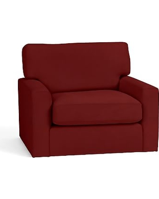 Turner Square Arm Upholstered Swivel Armchair without Nailheads, Down Blend Wrapped Cushions, Twill Sierra Red