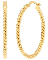 Italian-Made 30 mm Twisted Round Hoop Earrings in 18K Gold Plated Bronze - Yellow