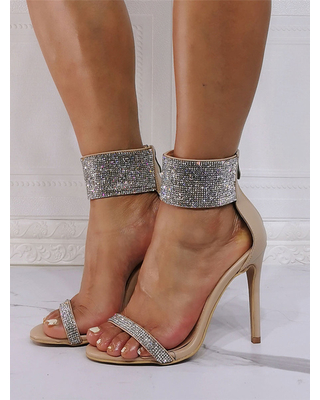 Milanoo High Heel Sandals Light Apricot PU Leather Open Toe Rhinestones Evening Shoes Party Shoes