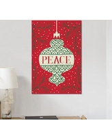 "East Urban Home 'Jolly Holiday Ornaments Series: Peace' Graphic Art Print on Canvas ESUR1363 Size: 18"" H x 12"" W x 1.5"" D"