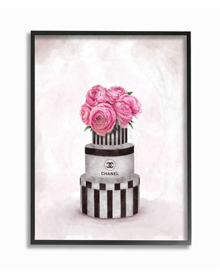 """Stupell Industries """"Fashion Flower Box Stack Pink Painting""""by Ziwei LiFramed Abstract Wall Art 20 in. x 16 in., Multi-Colored"""