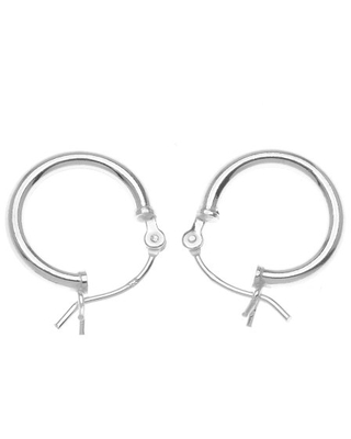 Beadaholique SS/702/14 Sterling Small Tube Hoop Earrings, 14mm, Silver