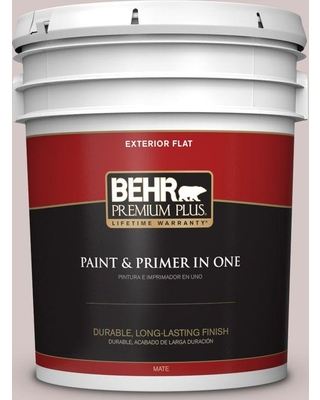 BEHR Premium Plus 5 gal. #730A-3 Lilac Tan Flat Exterior Paint and Primer in One