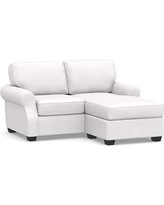 SoMa Fremont Roll Arm Upholstered Sofa with Reversible Chaise Sectional, Polyester Wrapped Cushions, Twill White