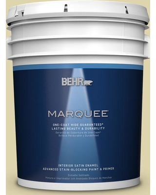 BEHR MARQUEE 5 gal. #MQ4-40 Primitive Green One-Coat Hide Satin Enamel Interior Paint and Primer in One