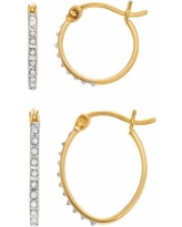 Diamond Mystique 18k Gold Over Silver Diamond Accent Round & Oval Hoop Earring Set, Women's, White