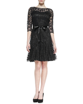 3/4-Sleeve Lace Overlay Cocktail Dress, Navy
