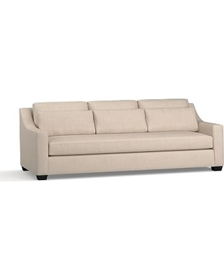 """York Slope Arm Upholstered Deep Seat Grand Sofa 95"""" with Bench Cushion, Down Blend Wrapped Cushions, Sunbrella(R) Performance Sahara Weave Oatmeal"""
