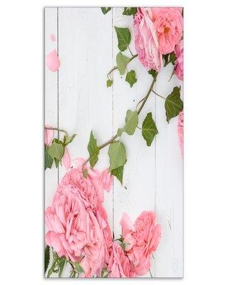 """East Urban Home Floral 'Pink Roses Facing Lying on Wood' Photographic Print on Wrapped Canvas ETUC2747 Size: 32"""" H x 16"""" W x 1"""" D"""