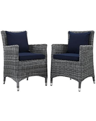 Summon Collection EEI-2313-GRY-NAV-SET Set of 2 Outdoor Patio Dining Chairs with Sunbrella Fabric Upholstery Synthetic Rattan Weave and Powder