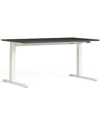 Humanscale Sit-Stand Desk, Large, White Base/Slate Gray Top