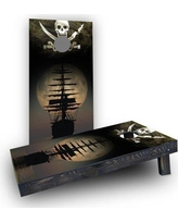 Custom Cornhole Boards Pirate Ship on the Ocean CCB1706-C Bag Fill: Light Weight Boards with Corn Filled Bags/Handles