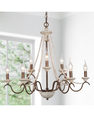 Falbo 9 - Light Classic Candle Style Chandelier with Wood Accents