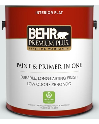 BEHR Premium Plus 1 gal. #BL-W2 Ice Sculpture Flat Low Odor Interior Paint and Primer in One