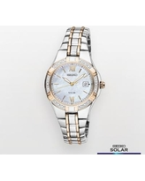 Seiko Women's Two Tone Stainless Steel Solar Watch - SUT068, Size: Small, multicolor