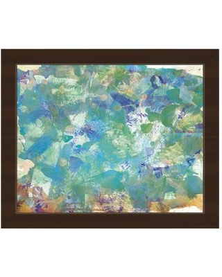 """Click Wall Art 'Turquoise Splatter Spill' Framed Painting Print on Canvas ABS0011171FRM Size: 13.5"""" H x 16.5"""" W Format: Espresso Framed"""