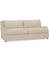 """Carlisle Slipcovered Grand Sofa 90.5"""" with Bench Cushion, Polyester Wrapped Cushions, Twill Parchment"""