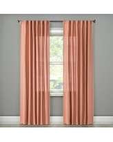 "Stitched Edge Curtain Panel Peach (Pink) (54""x84"") - Threshold"