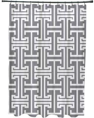 e by design Greek Isles Geometric Print Single Shower Curtain SCGN242 Color: Classic Gray
