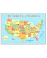 The Kids Room by Stupell United States of America USA Kids Map Oversized Wall Plaque Art